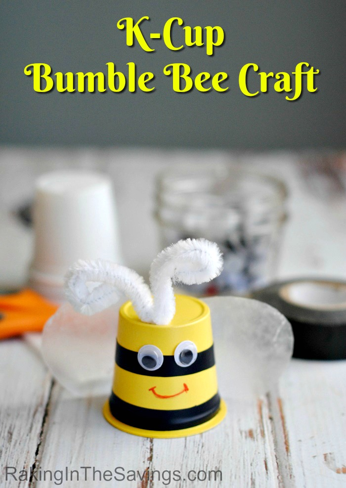Check out this spring upcycle craft you can do with the kids. It is a K-Cup Bumble Bee Craft!