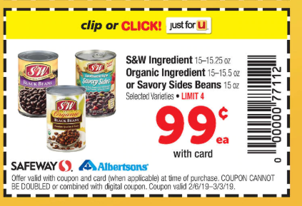 photograph regarding Safeway Printable Coupons known as SW Beans As Lower As $.24 at Safeway Albertsons! (Or